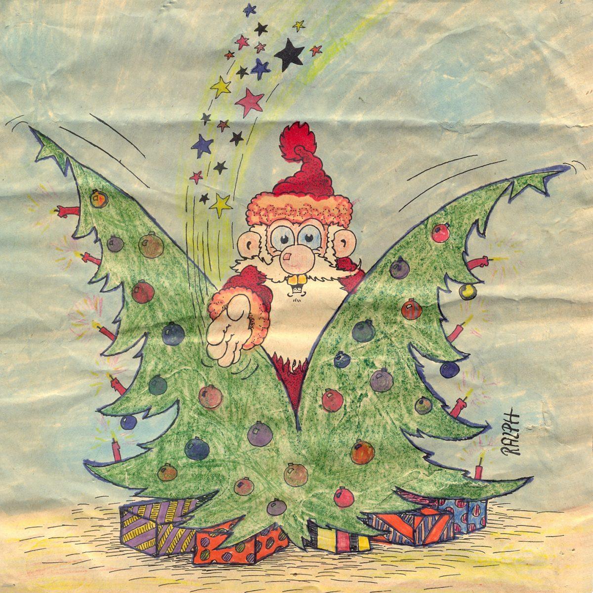 Nikolaus spaltet Weihnachtsbaum